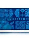 nail art estampage modeles avec tampographie blanc de beaute de la fleur de la mode transfert polish estampage plaques ongles de timbre