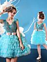 Vestido de festa - mini-me vestido de baile scoop curto / mini charmeuse tule com beading faixa de renda / fita
