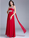 A-Line One Shoulder Floor Length Georgette Evening Dress with Beading