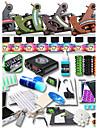 Kit de tatouage complet 4 x Machine a tatouer en fonte pour le tracage et l\'ombrage 4 Machines de tatouage LCD alimentationEncres
