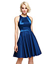 LAN TING BRIDE Knee-length Jewel Bridesmaid Dress - Short Sleeveless Stretch Satin