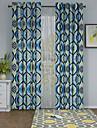 En panel Fönster Behandling Designer , Geometrisk Living Room Polyester Material gardiner draperier Hem-dekoration For Fönster