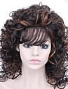 noir et jaune couleur melangee moyen perruque frisee court avec frange perruques synthetiques pour les femmes