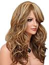 Capless lång kropp våg fluffig sida bang syntetiska peruker för kvinnor blanda beige brun värmetålig med gratis hårnät