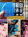 10pcs noel theme ongle art timbre dentelle ongles diy impression bleu plaque d\'image film Template ne assez ongles estampage plaques