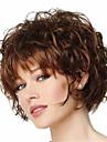 Capless korta lockiga fluffiga fulla sida Hjälp syntetiska peruker för kvinnor brun värmebeständiga med gratis hårnät