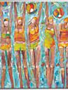 HANDMÅLAD Abstrakt / Människor olje,Klassisk / Moderna En panel Kanvas Hang målad oljemålning For Hem-dekoration