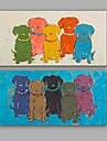 HANDMÅLAD Abstrakt / Djur olje~~POS=TRUNC,Moderna / Klassisk Två paneler Kanvas Hang målad oljemålning For Hem-dekoration