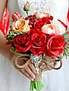 """Flori de Nuntă Rotund Trandafiri Buchete Nuntă Petrecere / Seară Poliester Satin Taftă Spandex Flori Uscate Ștras 9.84""""(Approx.25cm)"""