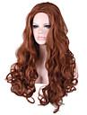 capless longue vague du corps cote fluide Bang perruques synthetiques pour les femmes resistantes brun sans filet a cheveux
