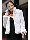 Women\'s Going out / Party/Cocktail Street chic Fur Coat,Solid Stand Long Sleeve Winter White / Black Faux Fur Medium
