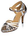 Chaussures de danse(Argent / Or) -Personnalisables-Talon Personnalise-Cuir-Latine / Moderne / Salsa