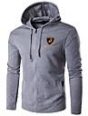 Bărbați Casul/Zilnic / Sporturi / Plus Size Simplu(ă) / Activ Regular Hoodies-Imprimeu Albastru / Negru / Gri Manșon Lung Capișon Bumbac