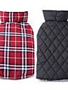 Chien Manteaux Gilet Vetements pour Chien Hiver Printemps/Automne Tartan Garder au chaud Reversible Beige Marron Rouge Vert