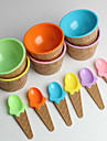 barns plast glass skålar skedar ställa hållbara glasskål (slumpvis färg)