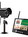 ENNIO 7 inch TFT Digital 2.4G Wireless Cameras Audio Video  Monitors 4CH Quad DVR Security System With IR Night Light