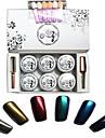 8 pcs / set ongles en poudre miroir kit brillant brillants miroir Manucure clou chrome poudre manucure pigmentaires