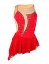 Robe de Patinage Femme Sans manche Patinage Robes Haute elasticite Robe de patinage artistique Elasthanne Rouge Tenue de Patinage