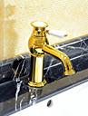Decoration artistique/Retro Diffusion large Valve en ceramique Mitigeur un trou with Ti-PVD Robinet lavabo