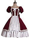 Une Piece/Robes Doux Rococo Cosplay Vetrements Lolita Couleur Pleine Gigot / Ballon Manches courtes Genou Robe Pour Coton