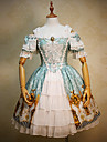 Une Piece/Robes Gothique Lolita Classique/Traditionnelle Retro Cosplay Vetrements Lolita Bleu Imprime Dentelle Manches courtes Genou