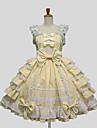 Une Piece/Robes Doux Princesse Cosplay Vetrements Lolita Noir Blanc Bleu Violet Jaune Couleur Pleine Sans manche Genou Robe Pour Coton