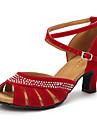 Chaussures de danse(Noir Bleu Rouge) -Personnalisables-Talon Personnalise-Daim Paillette Brillante-Latines