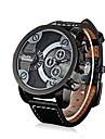 Bărbați Ceas Sport Ceas Militar Ceas La Modă Ceas de Mână Quartz Zone Duale de Timp Piele Autentică Bandă Vintage Casual MulticolorNegru
