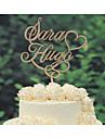 Vârfuri de Tort Personalizat Cuplu Clasic Crom Nuntă Aniversare Galben Temă Clasică Tema Vintage Tema rustic 1 Sac poli