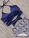 Femei Bikini Femei Cu Susținere Floral Solid În Cruce Sport Polyester