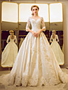 Ball Gown Wedding Dress - Classic & Timeless Elegant & Luxurious Floral Lace Court Train Bateau Tulle withSequin Beading Lace Pearl