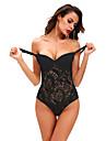 Feminin Teddy Pijamale,Subțire Polyester Spandex-Sexy Dantelă Solid Negru