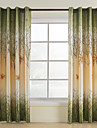 Two Panels Curtain Country , Leaf Living Room Polyester Material Curtains Drapes Home Decoration For Window