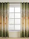 Två paneler Fönster Behandling Rustik , Löv Vardagsrum Polyester Material gardiner draperier Hem-dekoration For Fönster
