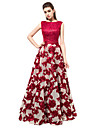 Prom Formal  Evening Dress A-line Bateau Floor-length Lace with Lace