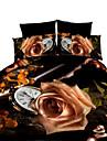 Floral Seturi Duvet Cover 4 Piese Poliester #D Imprimeu reactiv Poliester Queen 4pcs (1 Plapumă Duvet, 1 Cearceaf Plat, 2 Shams)