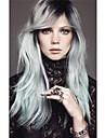 longue soie droite cote ombre noir / gris argente balaye frange perruque synthetique