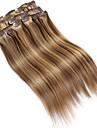 """9pcs / set de luxe 120g f4 / 27 mixte balayage brun clip de cheveux dans les extensions de cheveux 16 """"20"""" 100% cheveux humains"""