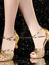Chaussures de danse(Noir Bleu Marron Rouge Argent Or Or noir) -Non Personnalisables-Talon Cubain-Satin Similicuir Synthetique-Latines
