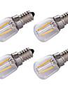 1.5W E14 Ampoules a Filament LED 2 COB 100 lm Blanc Chaud Decorative AC220 V 4 pieces