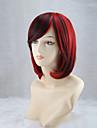 perruques de cosplay rouge et noir melange perruque ms bobo perruque courte de 12 pouces