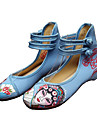 Damă Oxfords Primăvară Vară Toamnă Iarnă Confortabili Noutăți Pantofi brodate Pânză Outdoor Casual Atletic Toc Plat Cataramă FloriNegru