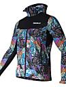 SPAKCT Veste de Cyclisme Homme Manches longues Velo Maillot Sechage rapide Pare-vent 100 % Polyester Floral / Botanique Automne Hiver