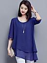 Damă Rotund Bluză Casul/Zilnic Plus Size Simplu(ă),Mată Vară-Mediu Poliester