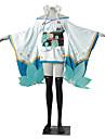 Inspirerad av Cosplay Cosplay Video Spel Cosplay-kostymer cosplay Suits Kimono Färgblock Jacquard Vit Blå GrönKimono Kappa Yukata Kjol
