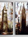 Peint a la main Paysages Abstraits Carre,Moderne Deux Panneaux Toile Peinture a l\'huile Hang-peint For Decoration d\'interieur