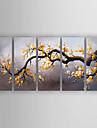 Pictat manual Floral/Botanic Orizontal,Modern Cinci Panouri Canava Hang-pictate pictură în ulei For Pagina de decorare