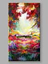 HANDMÅLAD Abstrakta landskap Vertikal,Moderna En panel Kanvas Hang målad oljemålning For Hem-dekoration