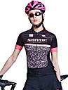 SANTIC® Maillot de Cyclisme Femme Manches courtes Velo Respirable Anti-transpiration Maillot 100 % Polyester Mode Printemps Ete Automne