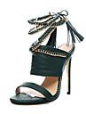 Femme-Habille Decontracte Soiree & Evenement-Noir Vert Veronese-Talon Aiguille-club de Chaussures-Sandales-Polyurethane